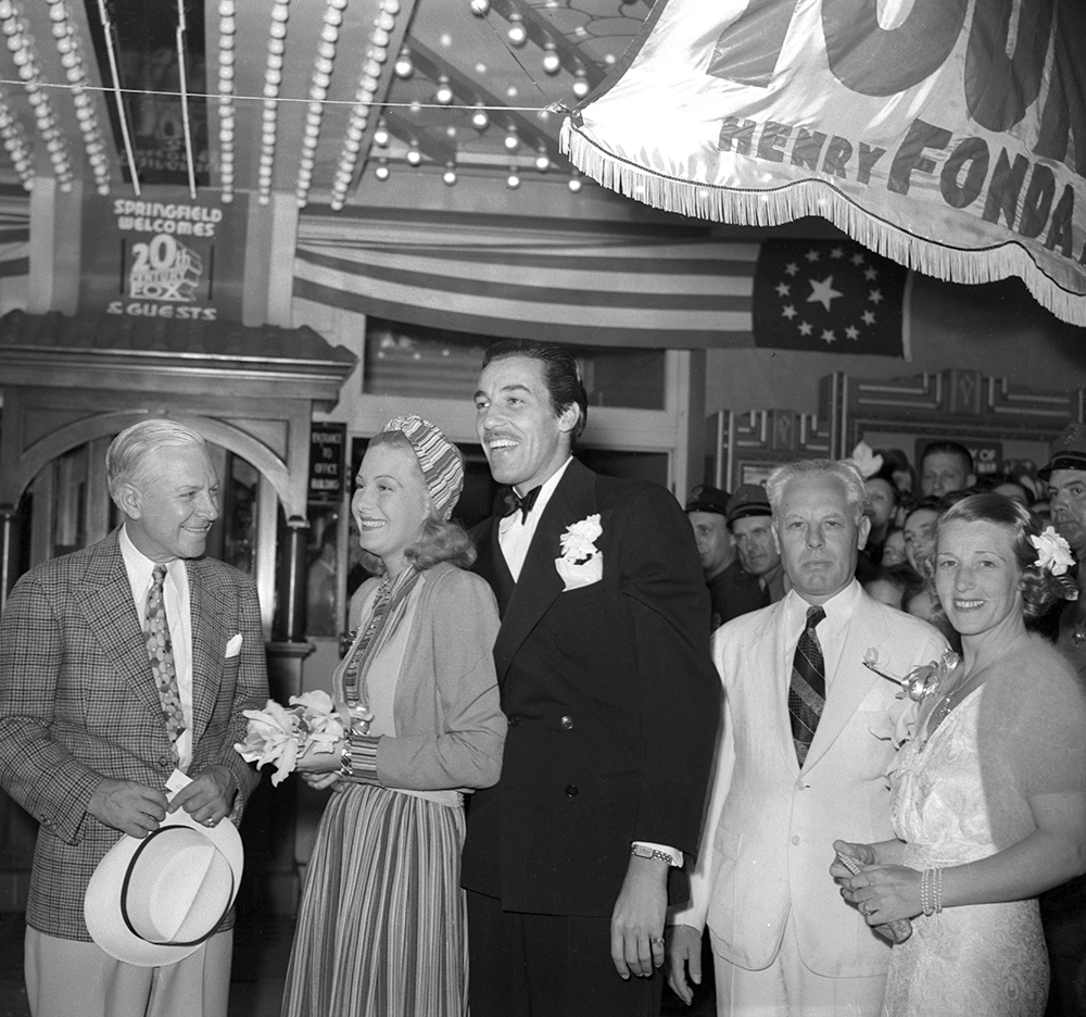 George M. Maypole, left, Cesar Romero, Binnie Barnes and Mayor John Kapp outside the Lincoln Theater.