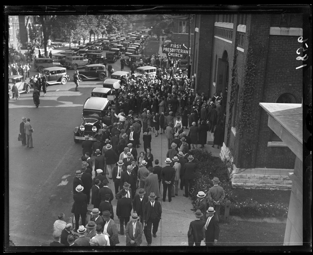 Funeral for Springfield Police Detective Porter Williams, First Presbyterian Church, Seventh Street and Capitol Avenue, circa 1932. File/The State Journal-Register