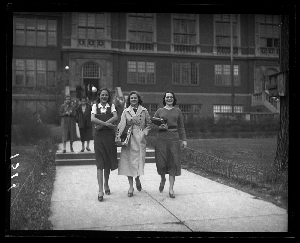 Springfield High School students, from left, Pauline Hotz, Mildred Hall and Maxine Haigh, Nov. 21, 1931. File/The State Journal-Register