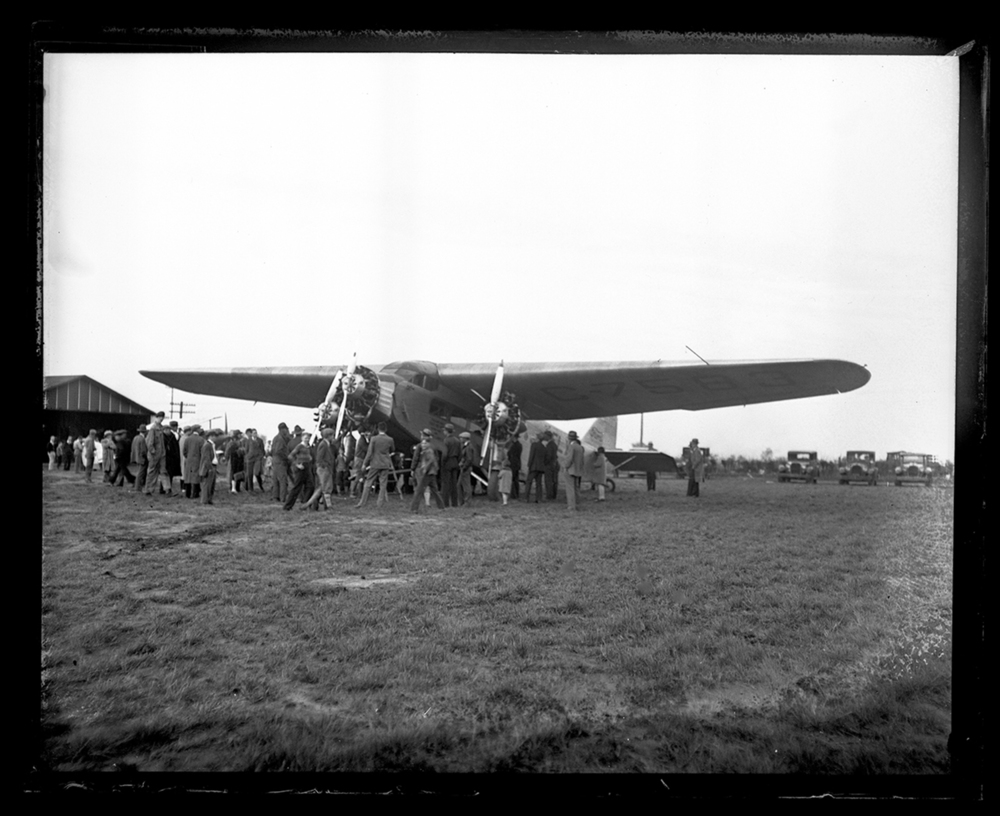 Ford Tri-Motor airplane draws a crowd at Southwest Airport, circa 1930. File/The State Journal-Register