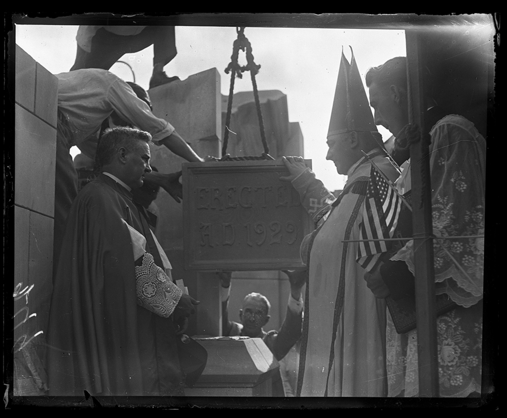 Cornerstone laying ceremony at Blessed Sacrament Church. Father Michael A. Tarrent, left and Bishop James A. Griffin, circa 1929. File/The State Journal-Register