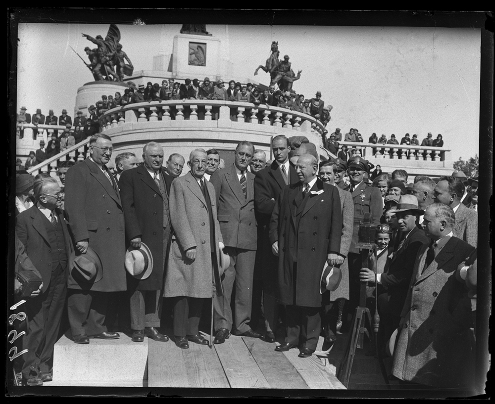 Franklin D. Roosevelt at Lincoln Tomb during campaign stop in Springfield, Oct. 21, 1932. Illinois Gov. Louis Emmerson, left of Roosevelt and Judge Henry Horner two to the right. Horner, a Democrat, would win the election that November over Emmerson, a Republican, to become the next Illinois governor. File/The State Journal-Register