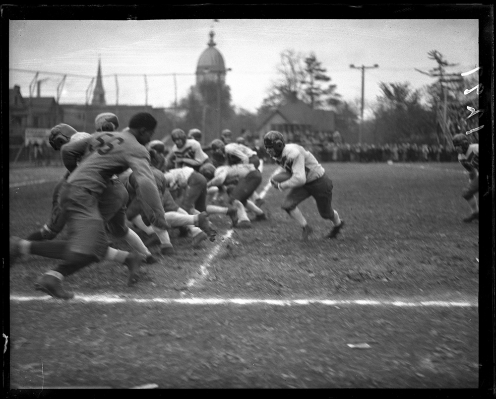 Springfield High School defeated Peoria Central High School 19-6 in action on the Senators' home field on Lewis Street, October 31, 1931. File/The State Journal-Register