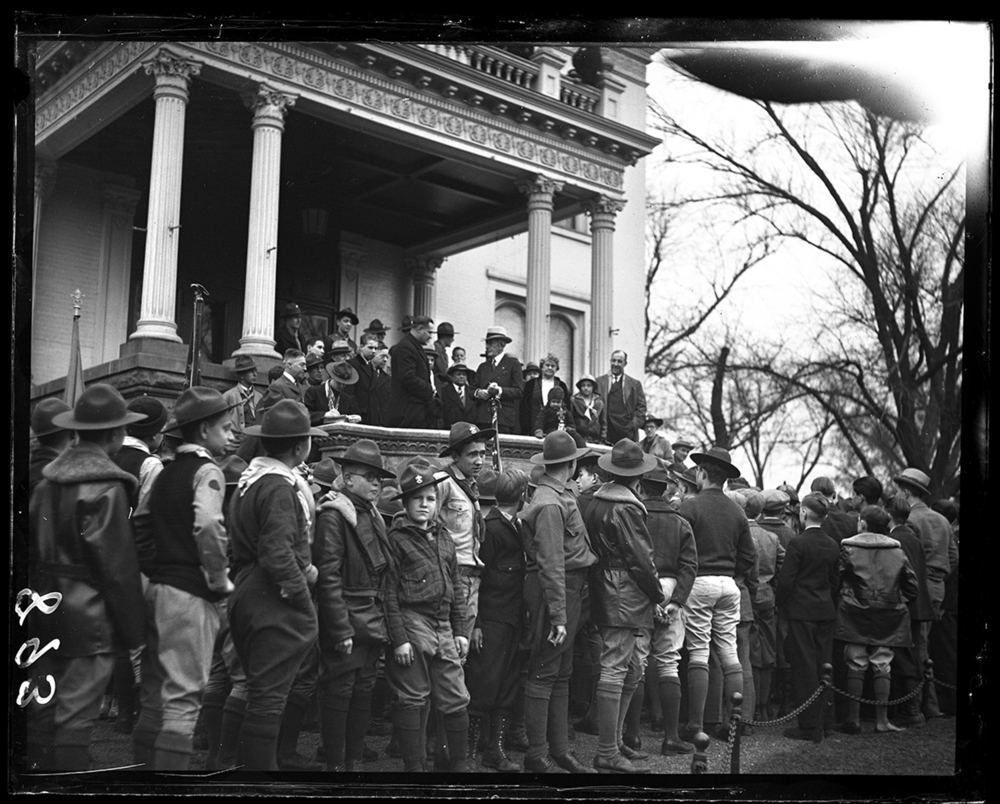 Boy Scout event at Executive Mansion with presentation to Gov. Louis Emmerson on porch, Feb. 13, 1931. File/The State Journal-Register