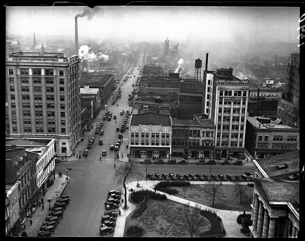View from upper floors of C.I.P.S. building, facing east on Adams Street over public square, 1930. File/The State Journal-Register
