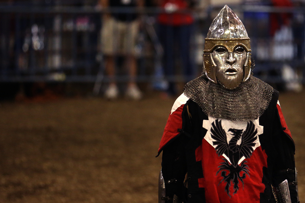A fighter from Company of the Iron Phoenix. The Medieval battle competition Battle of the Nations International Tournament of Chivalry took place at the Livestock Center on the Illinois State Fairgrounds in Springfield on Saturday, Oct. 18, 2014. Armored sword fighters competed in the full contact sport individually and as teams from around the world for medals.  David Spencer/The State Journal-Register