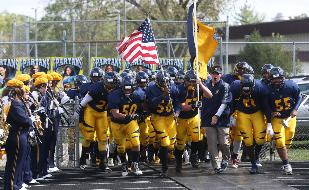 The Spartans take the field Saturday on Homecoming Day. The Springfield Southeast High School Spartans defeated the Springfield High School Senators 38-7 in football actions at the Spartans home field on Saturday, Oct. 4, 2014. David Spencer/The State Journal-Register