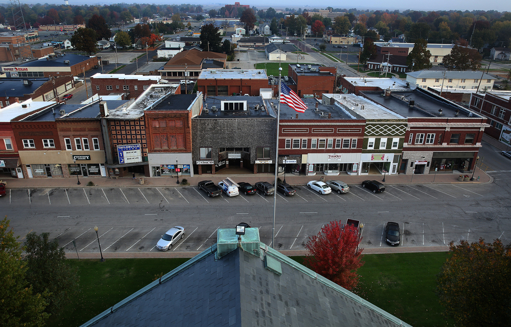 The north side of the Taylorville courthouse square viewed from the clock tower.