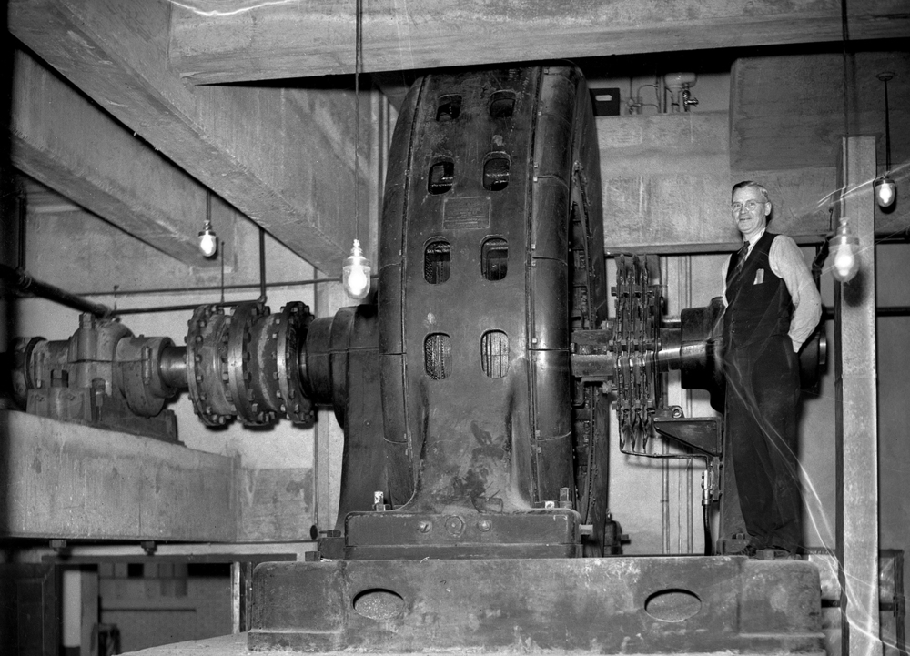 A.M. Shipley, head electrician from the Pillsbury office in Minneapolis, supervised the installation of a 1,000-horsepower electric motor, October 1937. File/The State Journal-Register