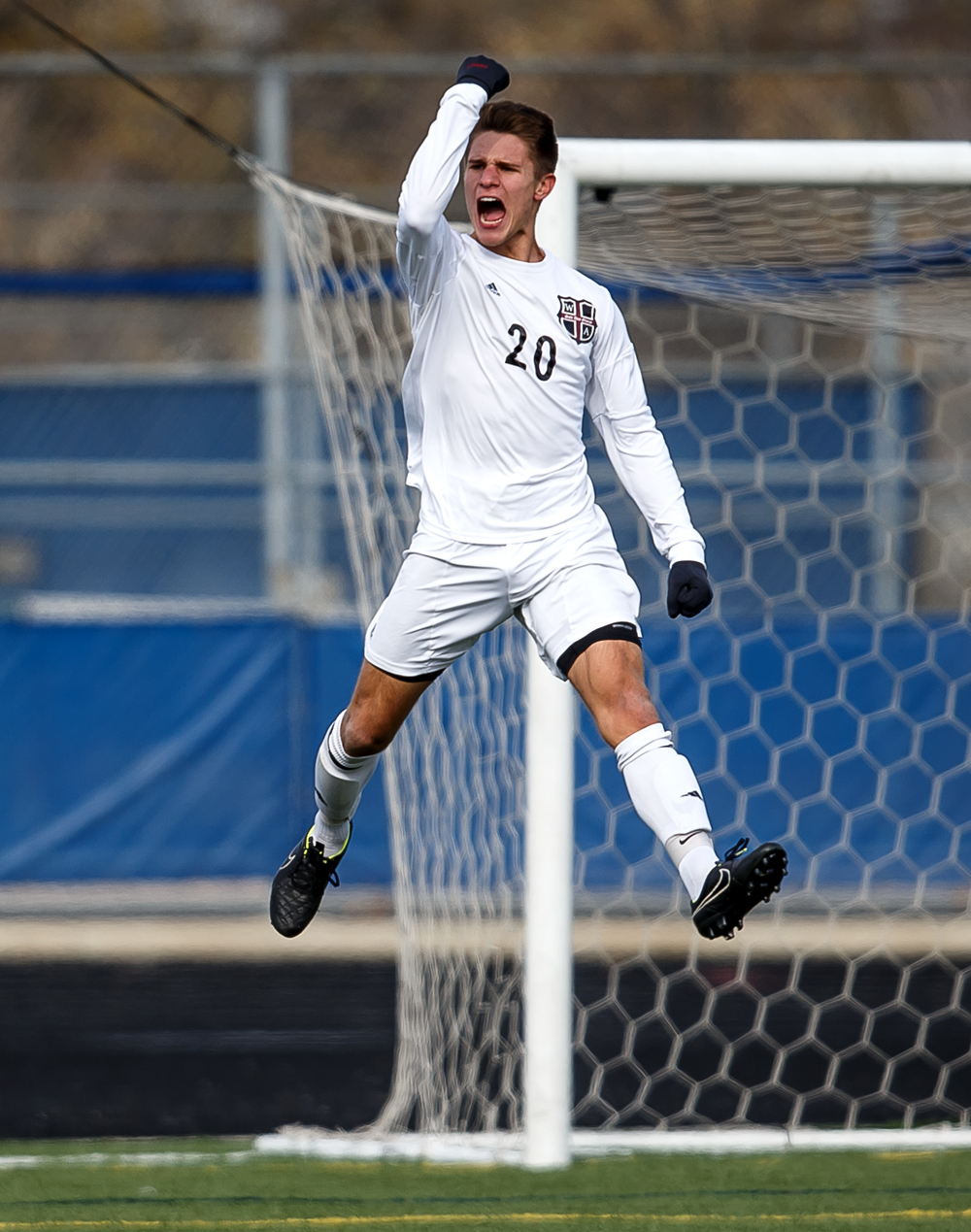 West Chicago Wheaton Academy's Ty Seager (20) celebrates his goal to make it 1-0 against Springfield in the first half during the IHSA Class 2A Soccer State Final Tournament semifinals at Hoffman Estates High School, Friday, Nov. 7, 2014, in Hoffman Estates, Ill. Justin L. Fowler/The State Journal-Register