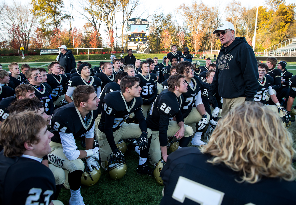 Sacred Heart-Griffin head coach Ken Leonard tells his team to be smart and get ready for their upcoming game against Taylorville after defeating Marion 42-0 during the second round of the Class 5A playoffs at the SHG Sports Complex, Saturday, Nov. 8, 2014, in Springfield, Ill. Justin L. Fowler/The State Journal-Register