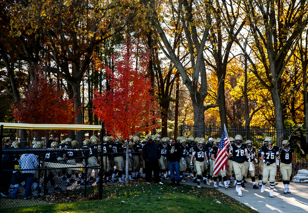 The Cyclones get lined up to head out on to the field to take on Marion in the second round of the Class 5A playoffs at the SHG Sports Complex, Saturday, Nov. 8, 2014, in Springfield, Ill. Justin L. Fowler/The State Journal-Register