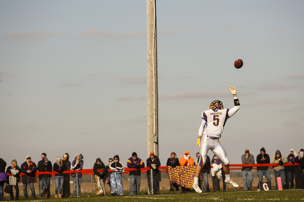 Williamsville's Vince Vignali tips a high snap to himself before punting it to New Berlin during the Class 3A high school football playoffs at New Berlin Saturday, Nov. 8, 2014. Ted Schurter/The State Journal-Register