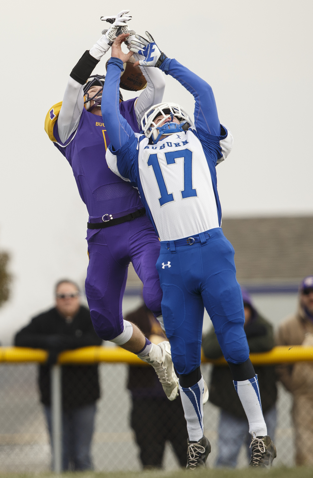 Auburn's Michael Ricker can't stop Williamsville's Daniel Daykin from grabbing this touchdown reception during the Class 3A high school football playoffs in Williamsville Saturday, Nov. 15, 2014. Ted Schurter/The State Journal-Register