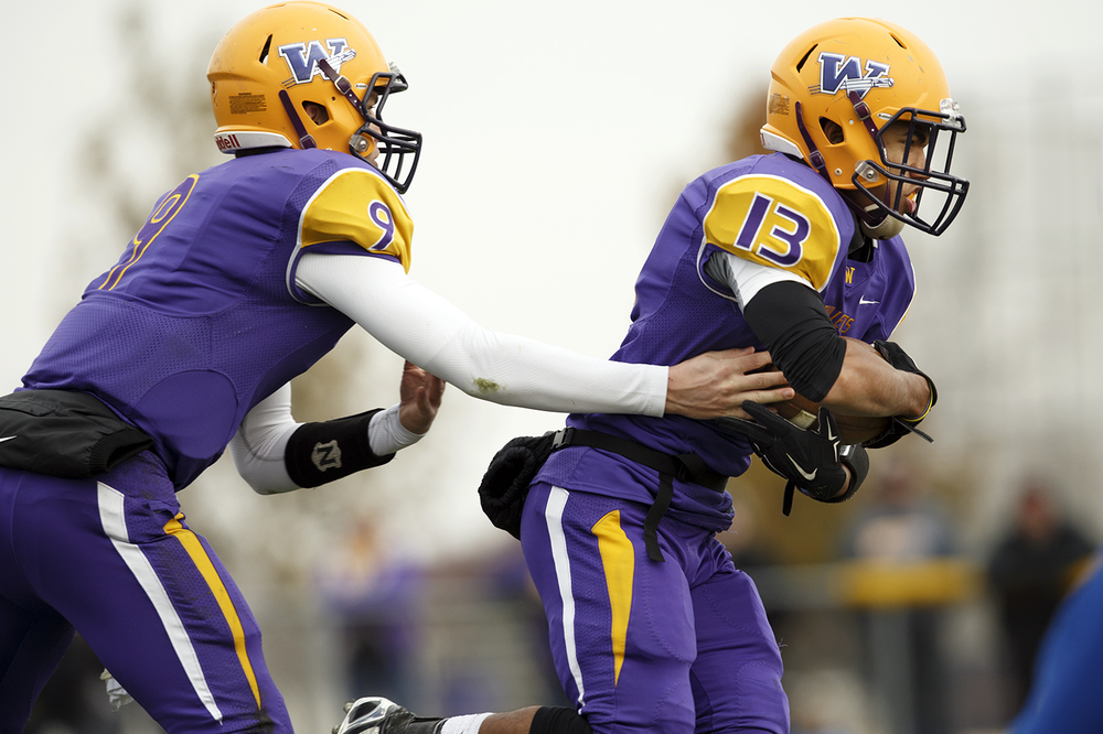 Williamsville quarterback Luke Bleyer hands off to Jace Franklin during the Class 3A high school football playoffs in Williamsville Saturday, Nov. 15, 2014. Ted Schurter/The State Journal-Register