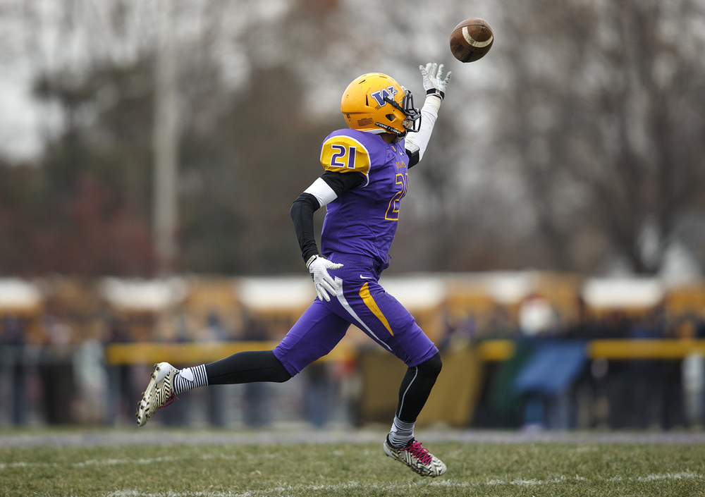 Williamsville's Avante' Cox tips a pass to himself against Auburn during the Class 3A high school football playoffs in Williamsville Saturday, Nov. 15, 2014. Ted Schurter/The State Journal-Register