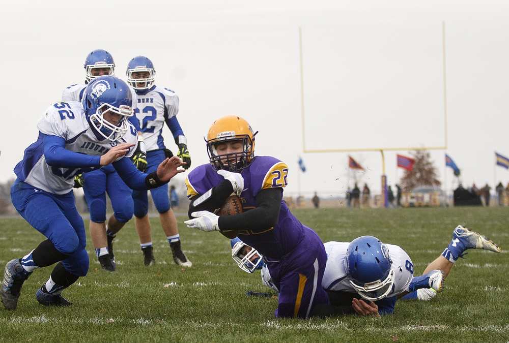 Williamsville's Tate Manka scores against Auburn during the Class 3A high school football playoffs in Williamsville Saturday, Nov. 15, 2014. Ted Schurter/The State Journal-Register