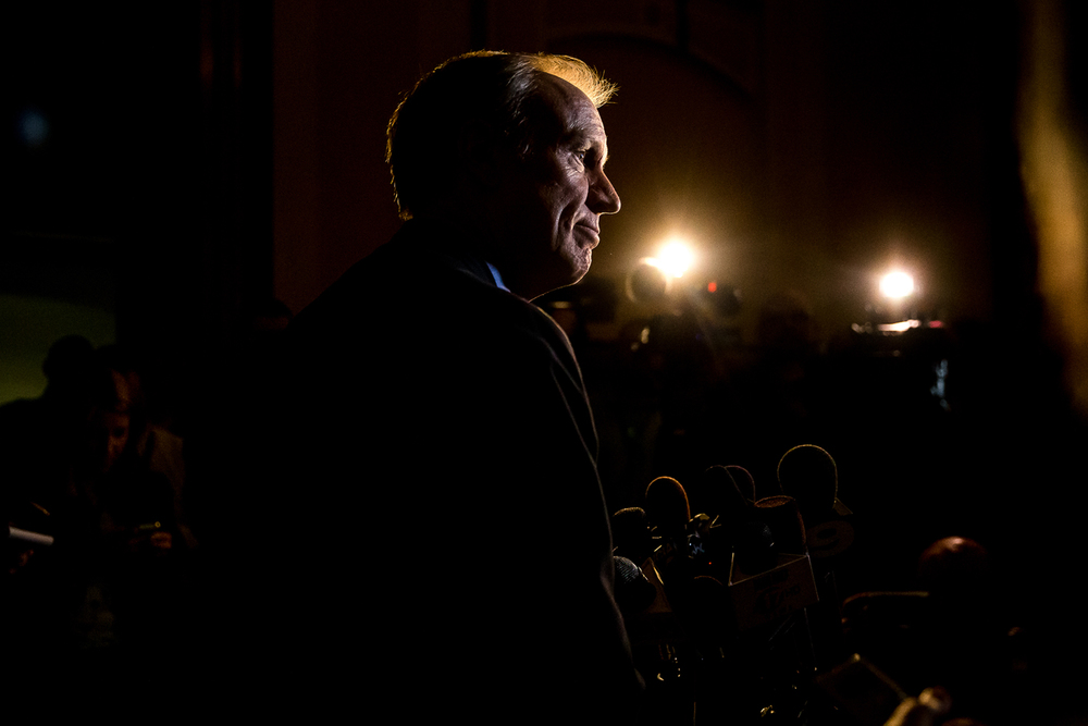 "Governor-Elect Bruce Rauner talks about the ""dire"" financial situation Illinois is in and that he is asking for Gov. Quinn's staff to put in place a hiring and appointment freeze during a press conference at the Illinois State Capitol, Thursday, Nov. 20, 2014, in Springfield, Ill. Justin L. Fowler/The State Journal-Register"