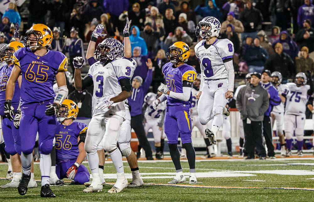 Wilmington's Jordan Sarr (8) reacts after the winning field goal makes it 20-17 over Williamsville in the IHSA Class 3A state championship game at Memorial Stadium, Friday, Nov. 28, 2014, in Champaign, Ill. Justin L. Fowler/The State Journal-Register