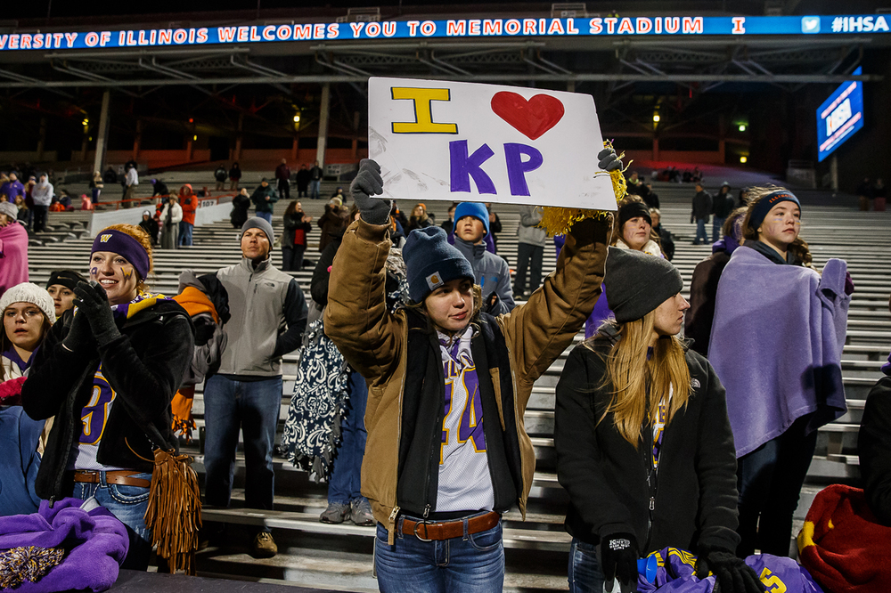 Williamsville fans support their team after being defeated by Wilmington 20-17 in  the IHSA Class 3A state championship game at Memorial Stadium, Friday, Nov. 28, 2014, in Champaign, Ill. Justin L. Fowler/The State Journal-Register