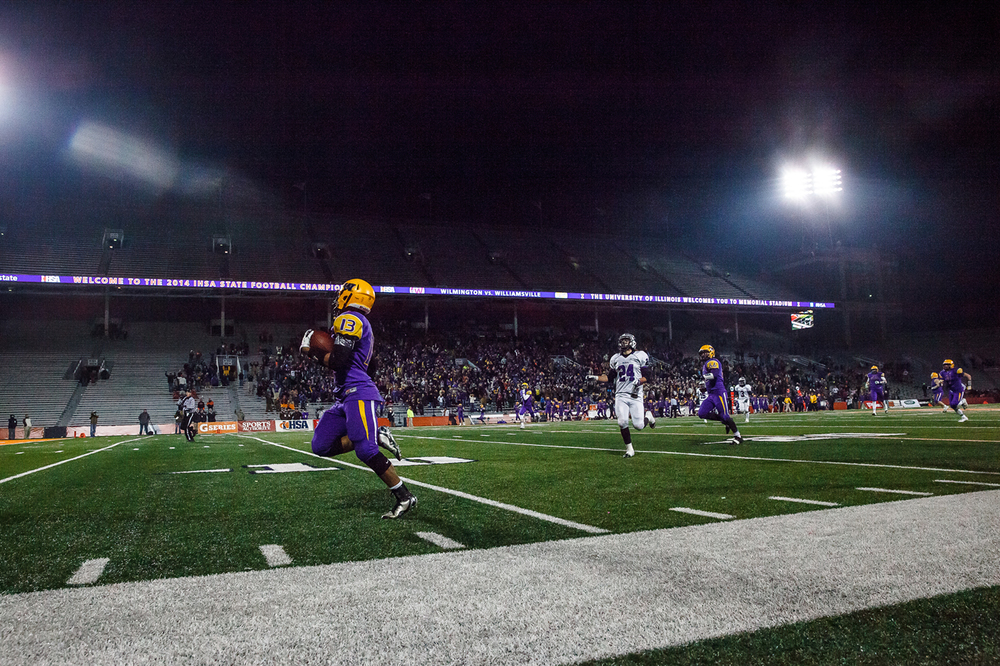 Williamsville's Jace Franklin (13) breaks free on a 65-yard touchdown against Wilmington in the second half during the IHSA Class 3A state championship game at Memorial Stadium, Friday, Nov. 28, 2014, in Champaign, Ill. Justin L. Fowler/The State Journal-Register