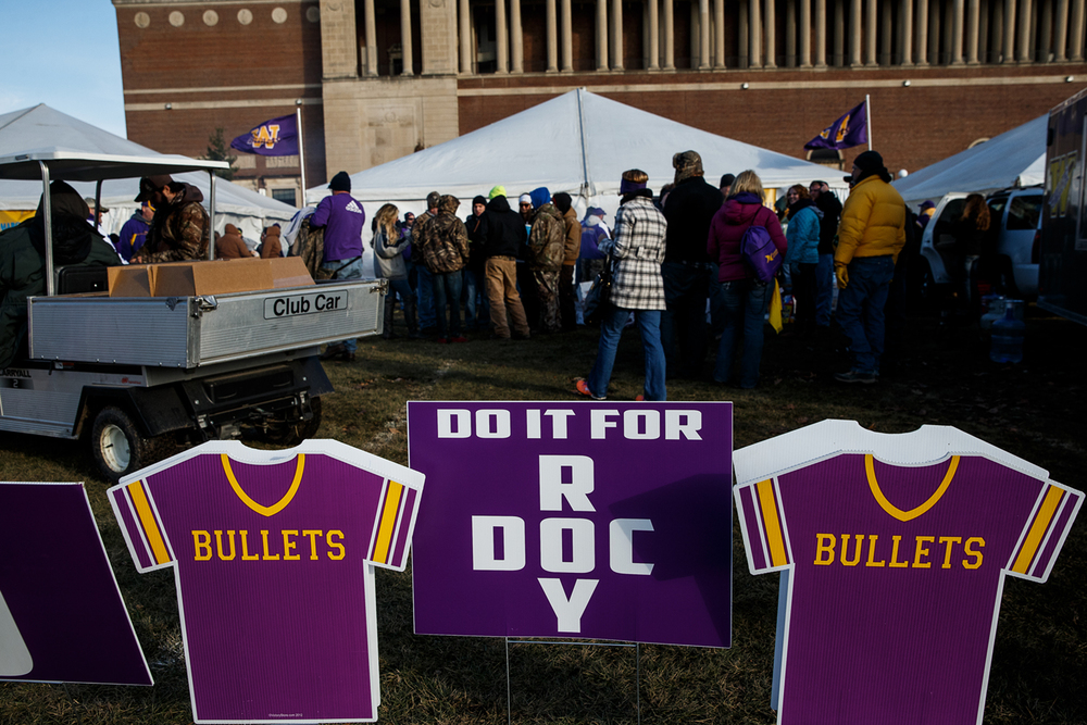 "The Williamsville fans have a tribute to both Doc Redpath (JFL coach) and Paul ""Roy"" Jenkins (high school coach) outside their tent prior to WIliamsville taking on Wilmington in the IHSA Class 3A state championship game at Memorial Stadium, Friday, Nov. 28, 2014, in Champaign, Ill. Justin L. Fowler/The State Journal-Register"