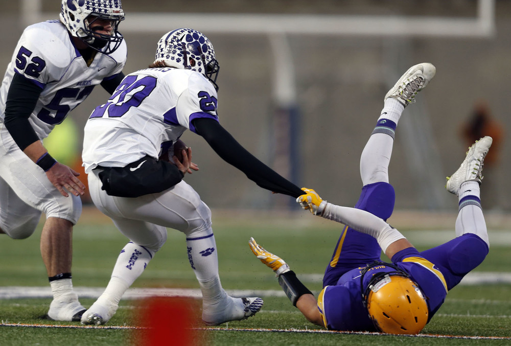 Williamsville's MJ Haire brings down Wilmington's Gavin Hawks by the sleeve during the Class 3A football championship game at Memorial Stadium Friday, Nov. 28, 2014. Ted Schurter/The State Journal-Register
