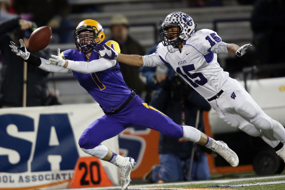 Williamsville's Daniel Daykin dives for a pass in front of Wilmington's Austin Headrick during the Class 3A football championship game at Memorial Stadium Friday, Nov. 28, 2014. Ted Schurter/The State Journal-Register