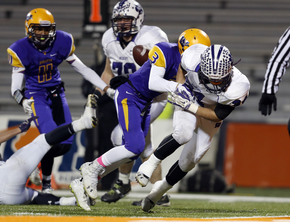 Wilmington's Nick McWilliams fumbles the ball at the goal line as Williamsville's  Ben Kovacevich makes the tackle during the Class 3A football championship game at Memorial Stadium Friday, Nov. 28, 2014. Ted Schurter/The State Journal-Register
