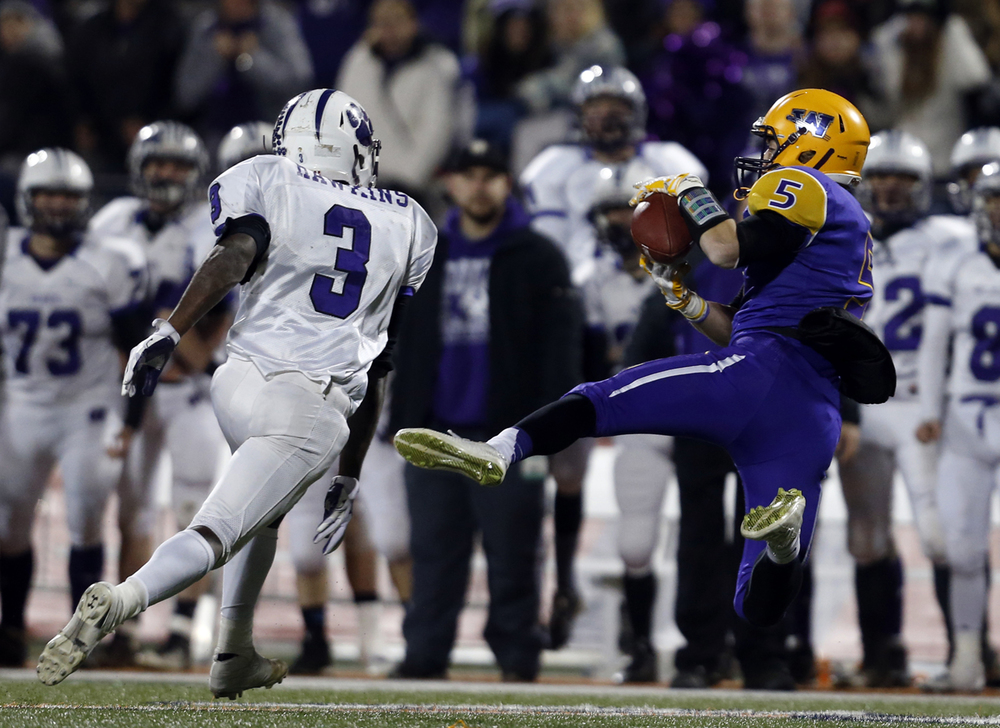 Williamsville's Vince Vignali makes a catch against Wilmington during the Class 3A football championship game at Memorial Stadium Friday, Nov. 28, 2014. Ted Schurter/The State Journal-Register
