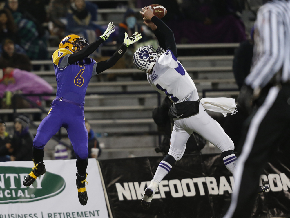 Wilmington's Mason Southall snatches an interception from Williamsville's Matt Watson during the Class 3A football championship game at Memorial Stadium Friday, Nov. 28, 2014. Ted Schurter/The State Journal-Register