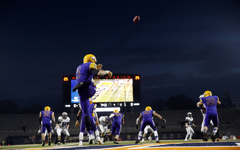 Williamsville's Vince Vignali punts the ball away against Wilmington during the Class 3A football championship game at Memorial Stadium Friday, Nov. 28, 2014. Ted Schurter/The State Journal-Register