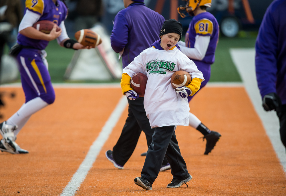 Seth Kunz, the son of Williamsville head football coach Aaron Kunz is fired up as the Bullets gets set to take on Wilmington in the IHSA Class 3A state championship game at Memorial Stadium, Friday, Nov. 28, 2014, in Champaign, Ill. Justin L. Fowler/The State Journal-Register