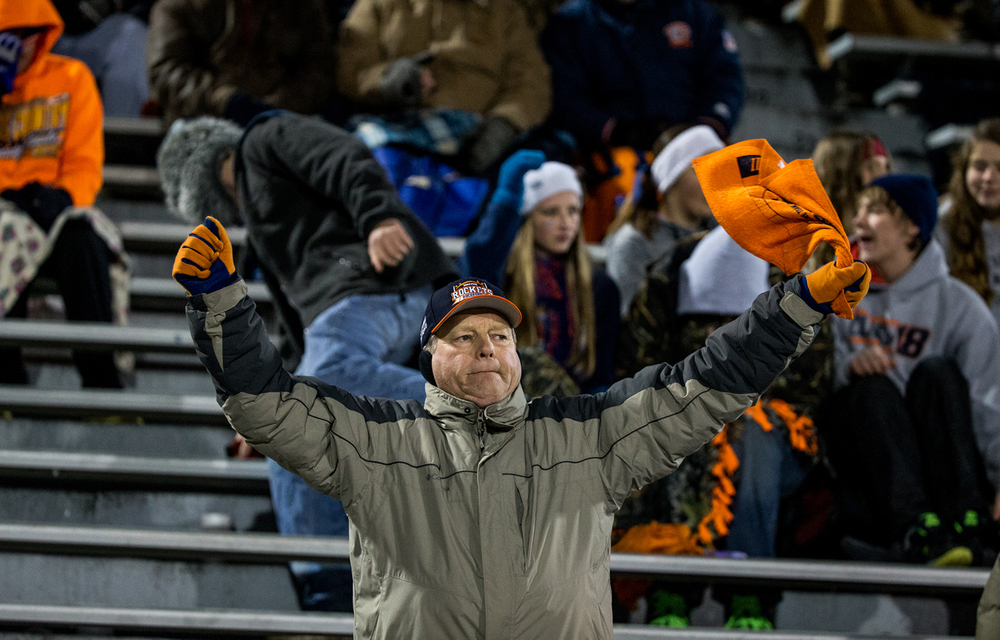 Rochester fans cheer on the Rockets as they take on Chicago Phillips in the first half during the IHSA Class 4A state championship game at Memorial Stadium, Friday, Nov. 28, 2014, in Champaign, Ill. Justin L. Fowler/The State Journal-Register