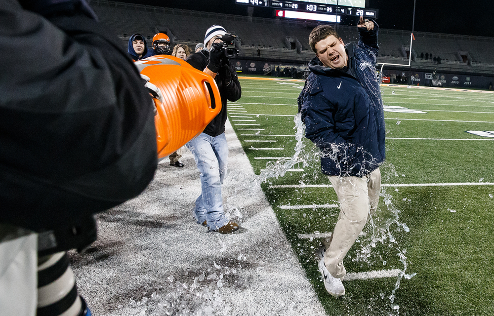 Rochester head football coach Derek Leonard gets the Gatorade bath as the clock clicks down on the Rockets victory over Chicago Phillips for their fifth straight title in the IHSA Class 4A state championship game at Memorial Stadium, Friday, Nov. 28, 2014, in Champaign, Ill. Justin L. Fowler/The State Journal-Register