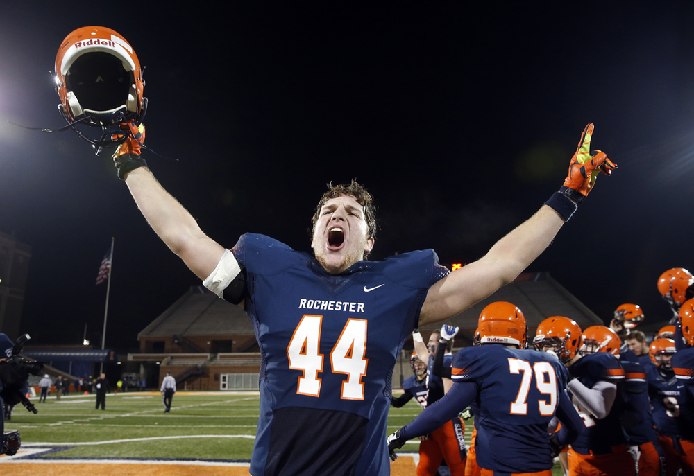 Rochester's Adam Conrady celebrates the Rockets victory against Chicago Phillips during the Class 4A football championship game at Memorial Stadium Friday, Nov. 28, 2014. Ted Schurter/The State Journal-Register