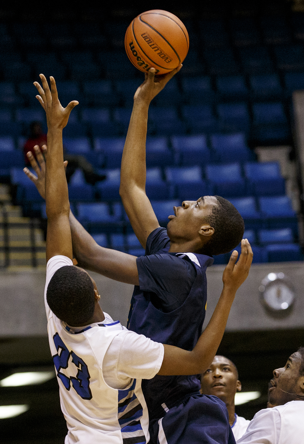 Southeast's Darius Ousley puts up a shot against Decatur MacArthur during the Capital City Showcase Saturday at the Prairie Capital Convention Center Saturday, Dec. 6, 2014. Ted Schurter/The State Journal-Register