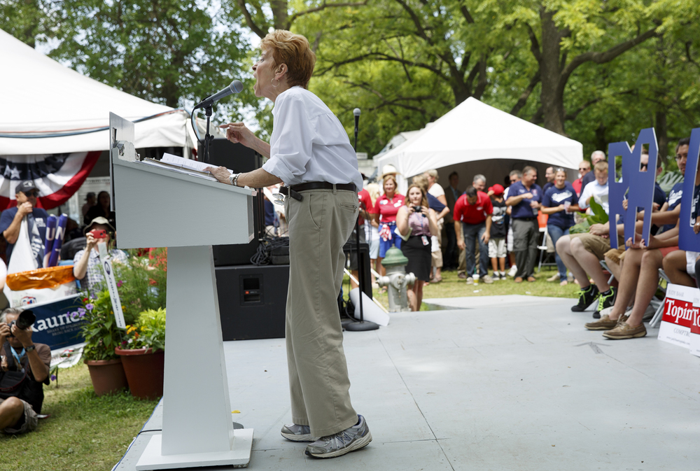 Judy Baar Topinka spoke during the Republican Day rally at the Illinois State Fair Aug. 14, 2014. Rich Saal/The State Journal-Register