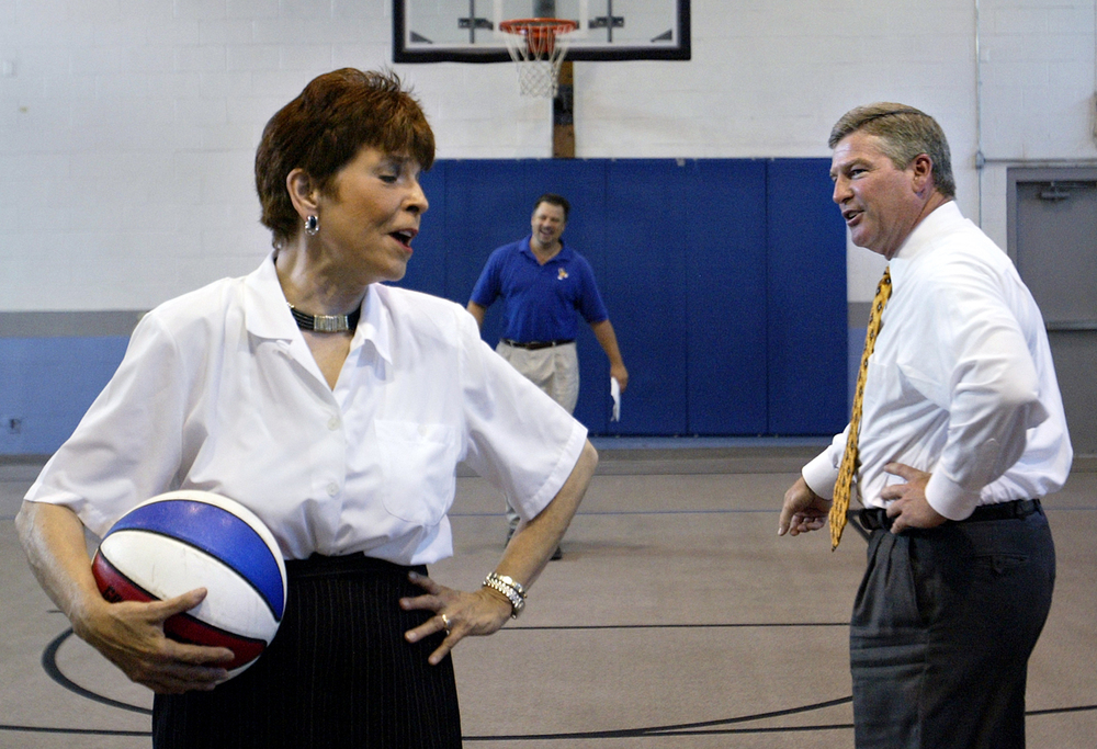 Illinois State Treasurer Judy Baar Topinka and Springfield Mayor Tim Davlin take part in a light-hearted shoot-out during a press conference to promote the Gus Macker 3-on-3 Basketball Tournament June 23, 2005. File/The State Journal-Register