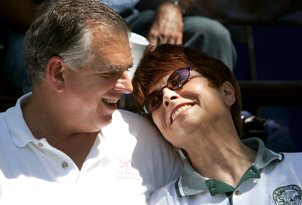 Congressman Ray LaHood and State Treasurer Judy Baar Topinka share the stage and a smile at the Republican Day rally at the 2003 Illinois State Fair. File/The State Journal-Register