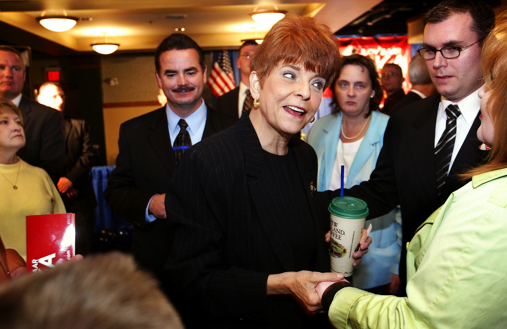 Illinois State Treasurer Judy Baar Topinka greets supporters following her formal gubernatorial candidacy announcement at The Inn at 835 in Springfield Dec. 1, 2005. File/The State Journal-Register