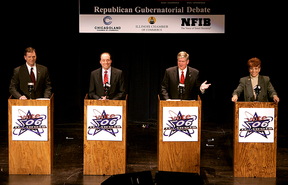 From left, Bill Brady, Ron Gidwitz, Jim Oberweis, and Judy Baar Topinka share the stage for a Republican gubernatorial debate at the Hoogland Center for the Arts in Springfield Tuesday, March 8, 2006. File/The State Journal-Register