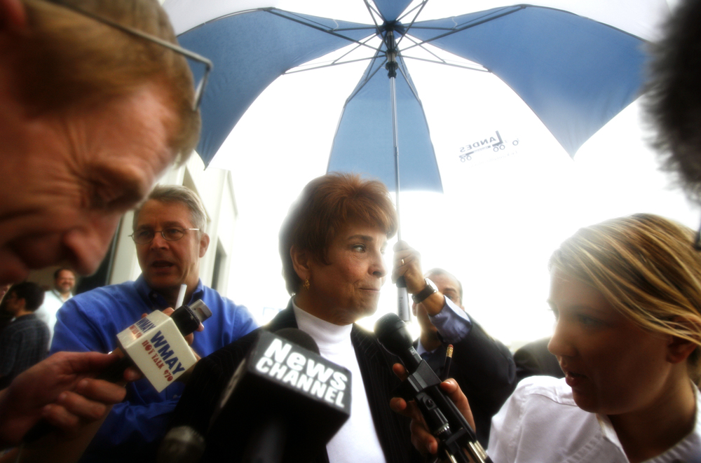 Media surround Republican nominee for Governor Judy Baar Topinka after  a press conference at Landes Trucking in Jacksonville Ill., July 12, 2006. File/State Journal-Register
