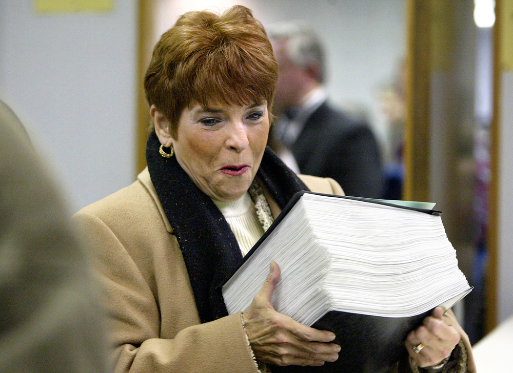Illinois State Treasurer Judy Baar Topinka presents her 1,068-page election petition at the Illinois State  Board of Elections as she files to run for governor Dec. 13, 2005. File/The State Journal-Register
