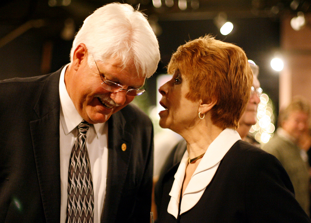 Gubernatorial candidate Judy Baar Topinka talks with Rep. Rich Brauer, R-Springfield, after her arrival at a Republican fundraising event at The Maple Club in Lincoln Oct. 11, 2006. File/The State Journal-Register