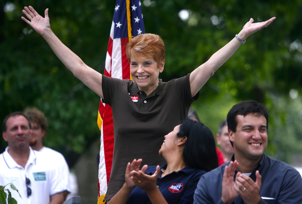 Judy Baar Topinka acknowledges applause at the Republican Day rally at the 2009 the Illinois State Fair. File/The State Journal-Register