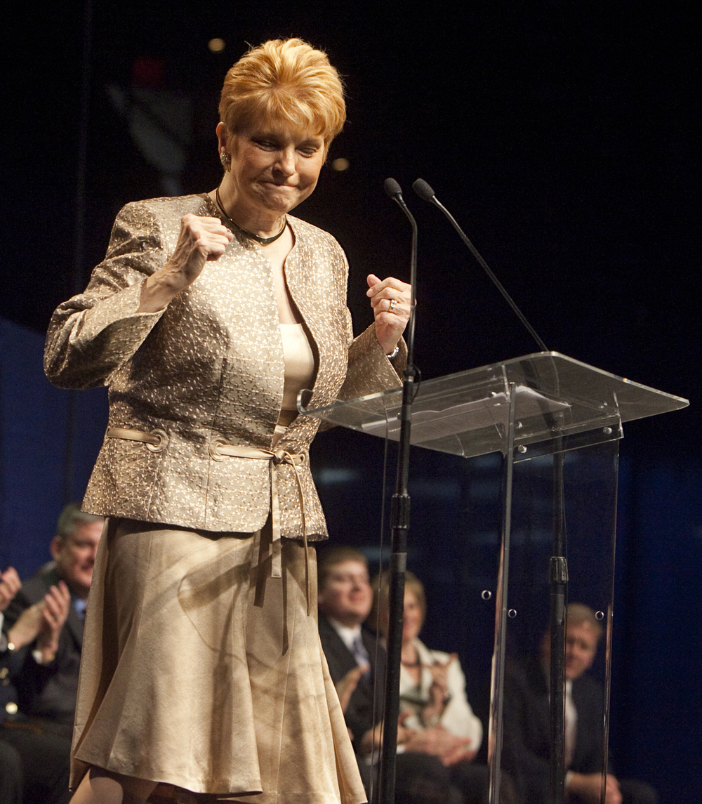 Illinois Comptroller Judy Baar Topinka reacts as she takes to the podium to deliver her inaugural address during the Inaugural Ceremony at the Prairie Capital Convention Center in Springfield, Ill., Monday, Jan. 10, 2011. File/The State Journal-Register