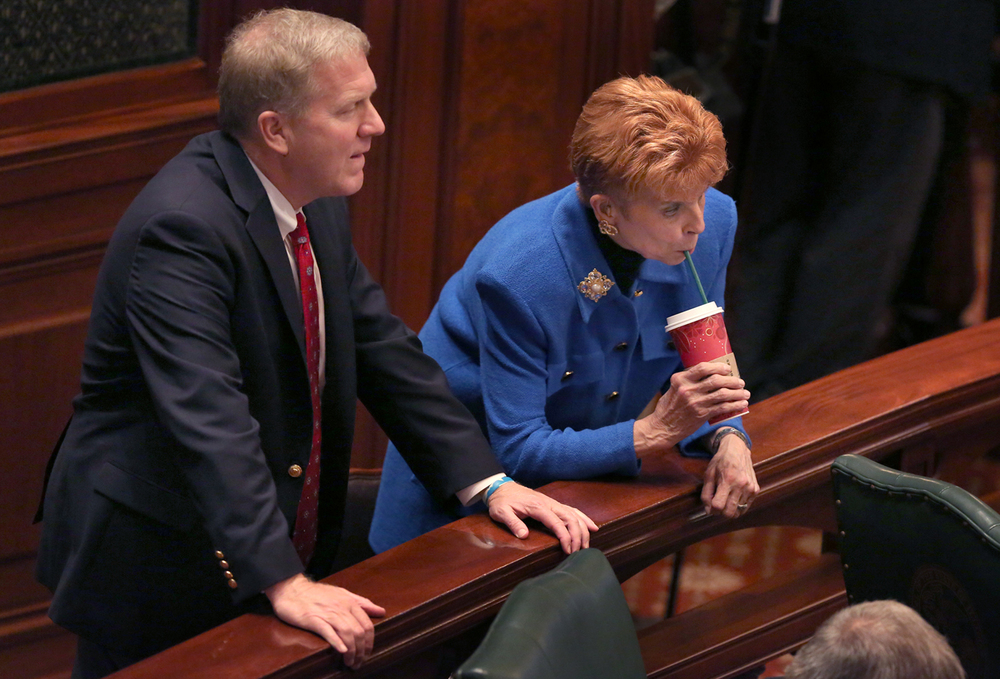 House Republican Leader Tom Cross and Illinois Comptroller Judy Baar Topinka listen to speeches in favor or against passage of a bill that would allow same-sex marriage in the Illinois House Tuesday, Nov. 2, 2013.File/The State Journal-Register