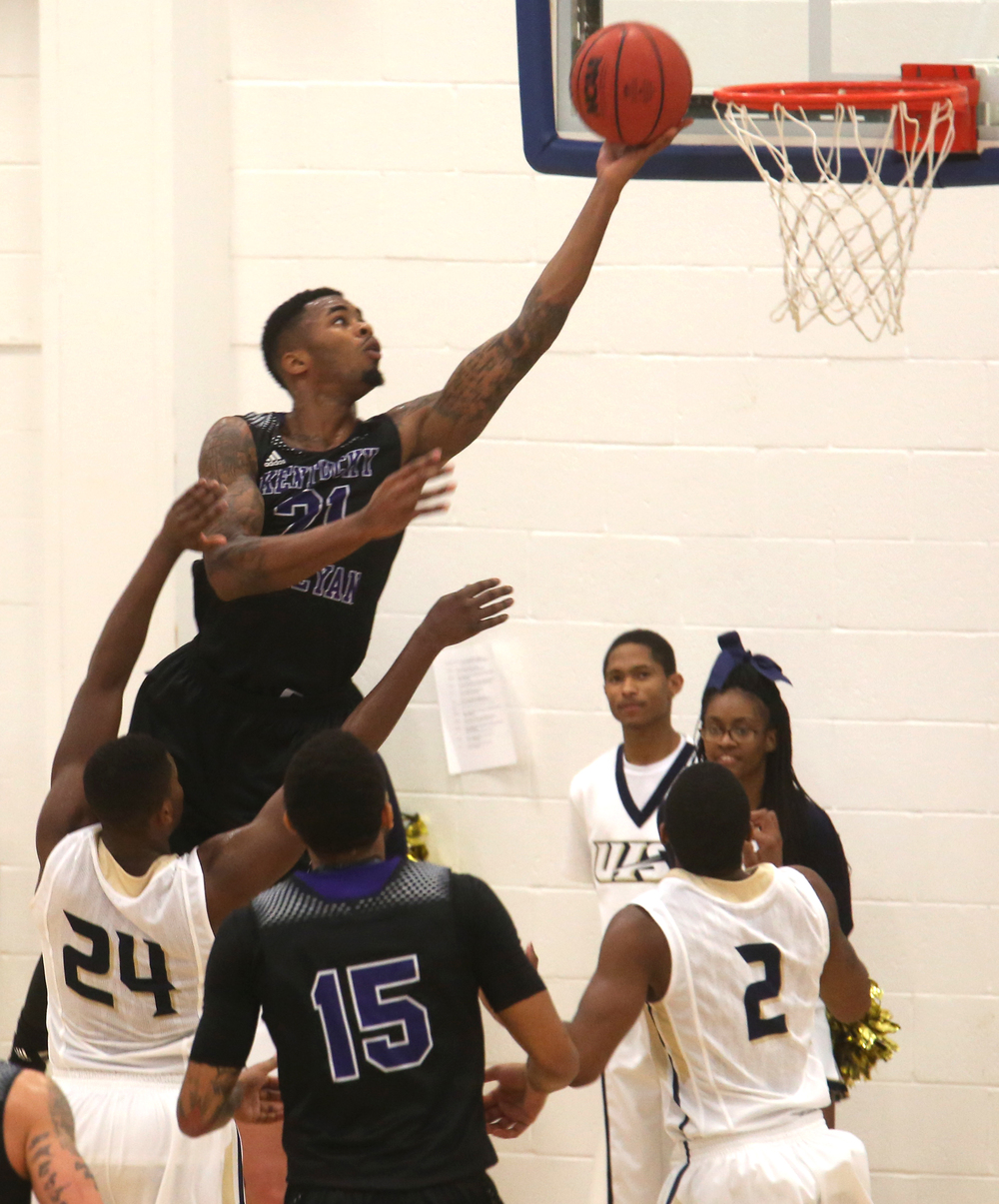 Panthers player Devin Langford puts up two points. The Kentucky Wesleyan Panthers defeated the UIS Prairie Stars 80-61 in men's basketball action at the TRAC center on the UIS campus on Sunday, Dec. 14, 2014. David Spencer/The State Journal-Register