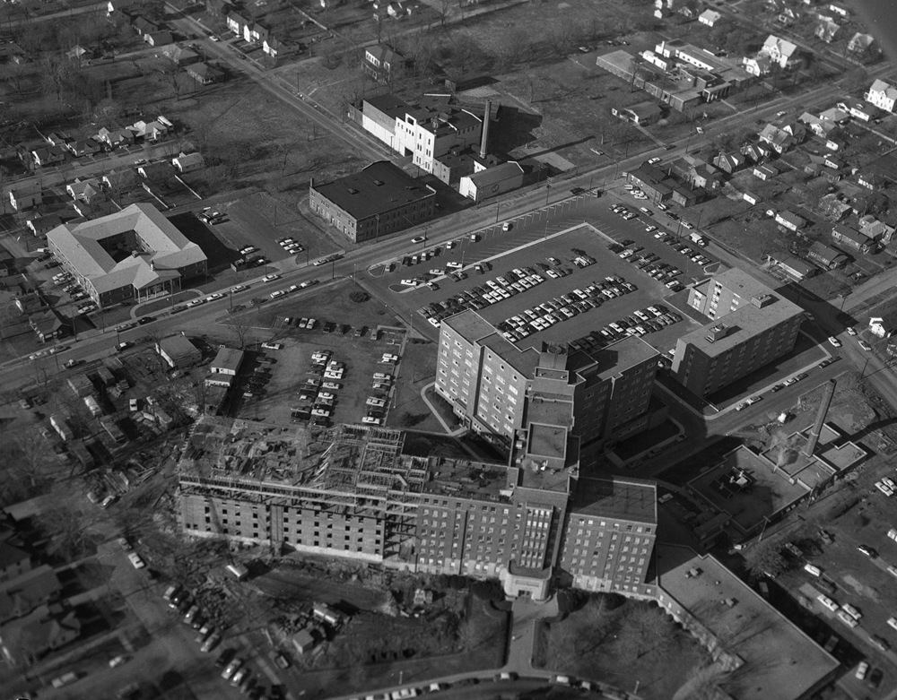 Aerial, Memorial Hospital, Reisch Brewery. Dec. 22, 1966. File/The State Journal-Register